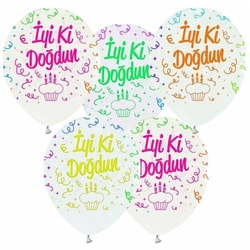 Floresan İyi Ki Doğdun Latex Balon 100 Adet - Thumbnail